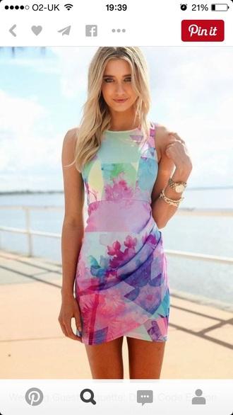 dress floral dress multicolor bright colored spring dress
