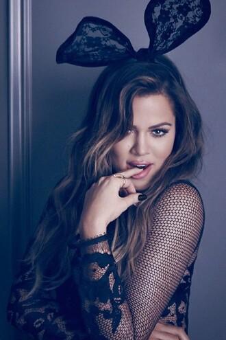 underwear top bodysuit lace hair accessories khloe kardashian