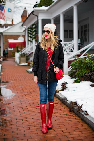 katie's bliss - a personal style blog based in nyc blogger shoes shorts coat bag shirt jeans hat jewels make-up red bag beanie red boots winter outfits wellies red shirt plaid shirt