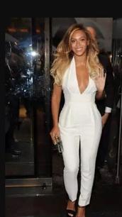 jumpsuit,beyonce!,white,white jumpsuit,beyonce,celebrities in white
