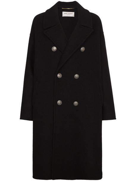 Saint Laurent coat wool coat double breasted women cotton black silk wool