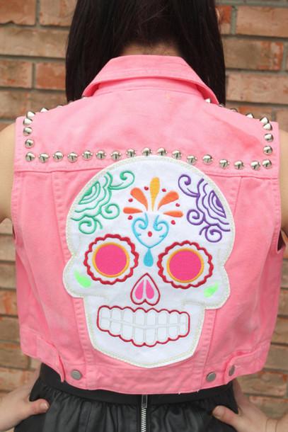 jacket skull vest pink