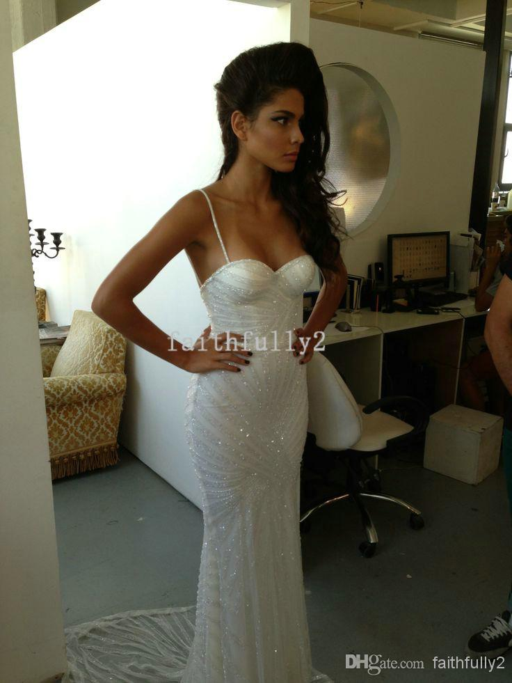 Discount berta spaghetti wedding dresses sweetheart beading mermaid court online with $459.67/piece