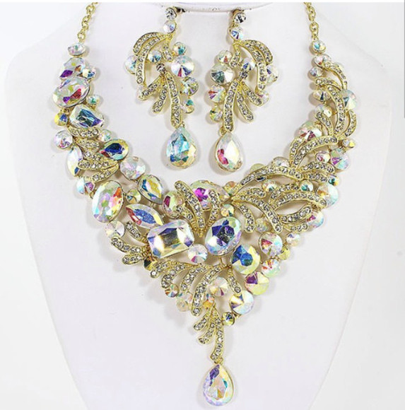 jewels earrings gold necklace rhinestones swarovski jewelry set