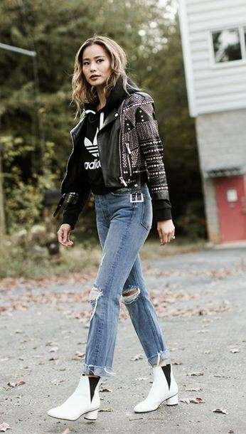 jacket jeans denim jamie chung blogger ankle boots fall outfits hoodie sweatshirt sweater
