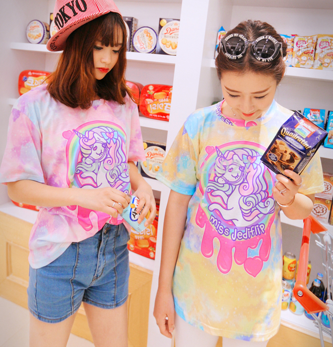 Summer T shirt women 2014 New fashion High Quality Harajuku Style Galaxy Rainbow Unicorn Little Pony Loose Round Neck T shirt-in T-Shirts from Apparel & Accessories on Aliexpress.com