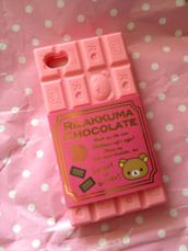 phone cover,rilakkuma,iphone,iphone case,iphone cover case,rilakkuma iphone case,pink,rilakkuma chocolate case,iphone case 4,rilakkuma pink,cute,kawaii,beige