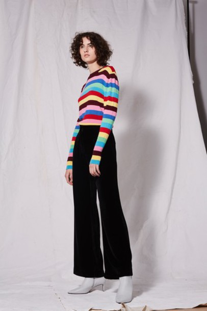 Topshop black velvet pants
