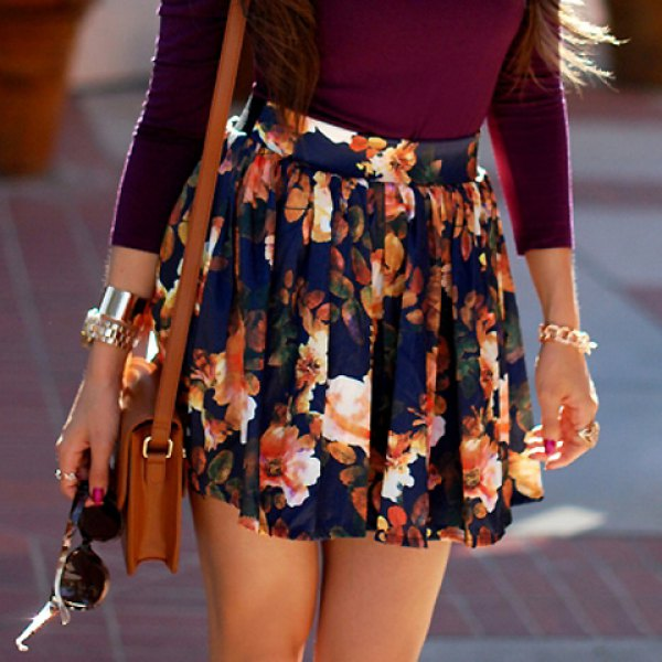 Waisted floral print ruffled women's skirt