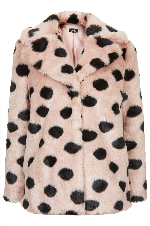 Faux Fur Polka Dot Coat - Faux Fur Coats - Jackets & Coats - Clothing