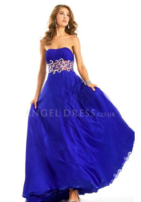 Strapless A line Chiffon Empire With Embroidery Floor Length Sweep/ Brush Train Prom Dress - Angeldress.co.uk