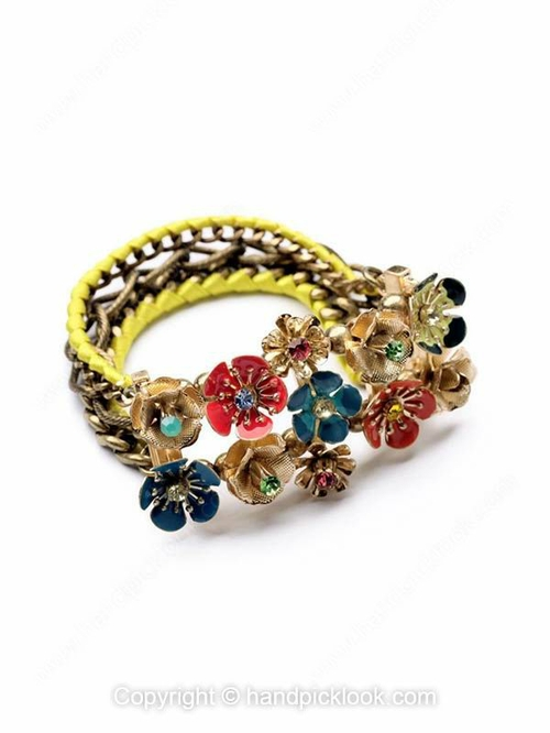 Red Blue Flower Yellow Chain Bracelet - HandpickLook.com