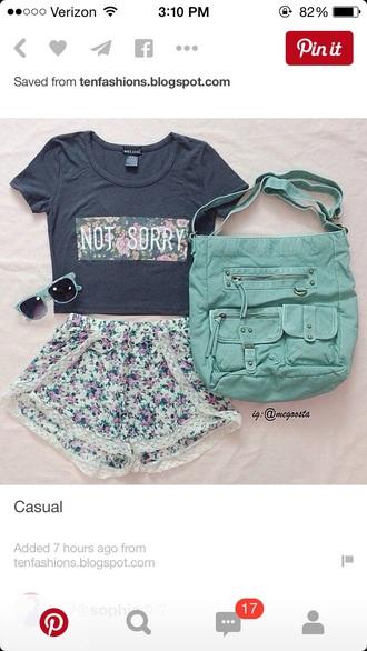 bag purse shorts high waisted shorts summer shorts lace shorts shirt