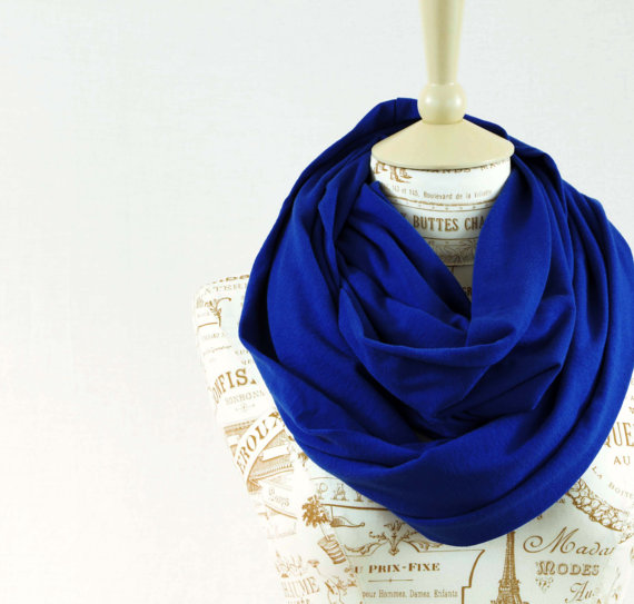 Royal Blue Circle Scarf Infinity Jersey Cobalt Long Wide Soft Cotton Accessory Women