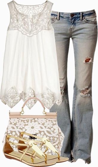 blouse shirt top tank top lace top white lace tank top crochet top sheer top bag