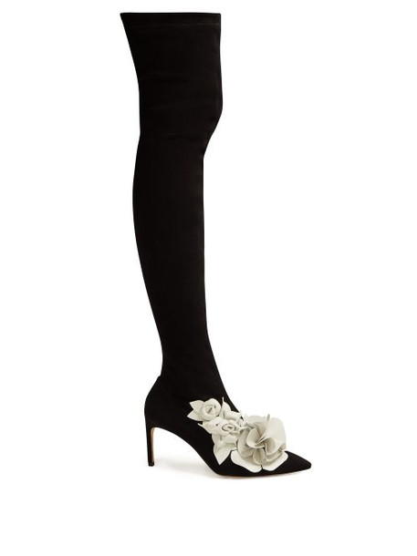suede boots floral white suede black shoes