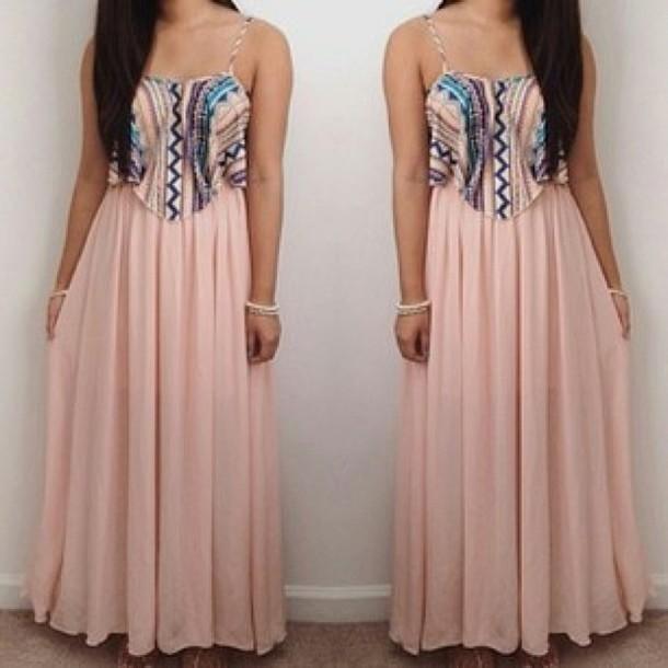 dress pink long