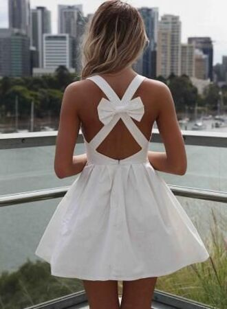 dress white dress bow dress bow tie mini dress summer dress women trendy cut-out dress cut-out back strappy ruffle ruffle dress i need this help crossover strap backless sleeveless dress short dress formal cute dress fashionista