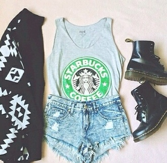 t-shirt starbucks coffee denim blue shirt drmartens black denim shorts cardigan shorts shoes