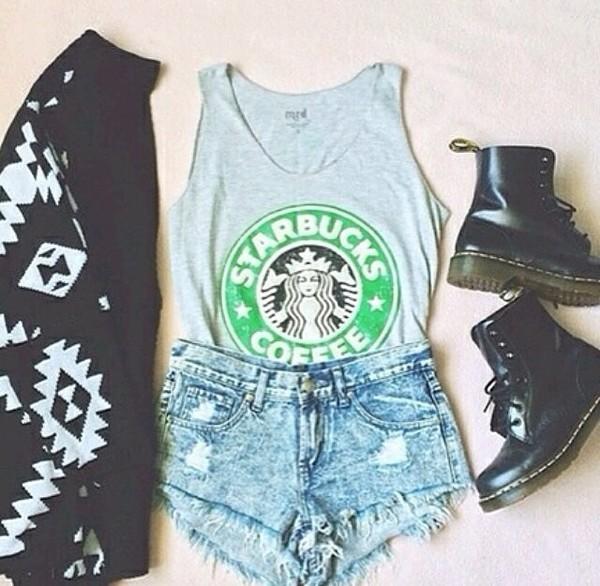 t-shirt starbucks coffee denim blue shirt DrMartens black denim shorts cardigan shorts shoes