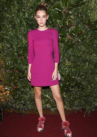 dress pink dress mini dress milan fashion week 2016 sarah snyder