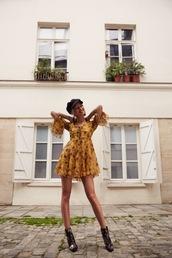 dress,tumblr,floral,floral dress,mini dress,yellow,yellow dress,long sleeves,long sleeve dress,boots,ankle boots,hat