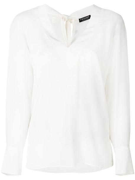 Twin-Set - classic shift blouse - women - Silk - 40, White, Silk