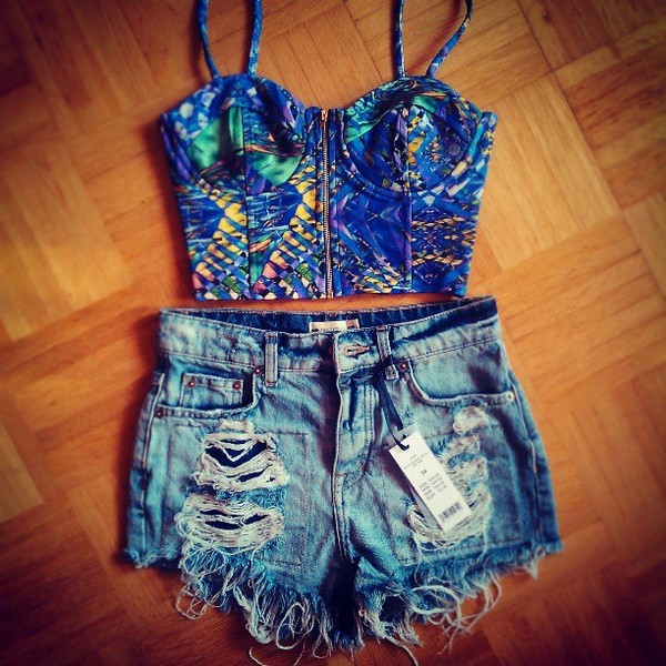 blouse blue dress printed crop top aztec fancy pretty yellow green shorts denim small