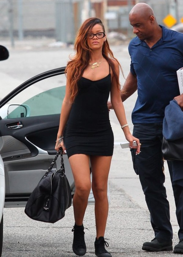dress rihanna mini black chuck taylor all stars bag little black dress sunglasses prada
