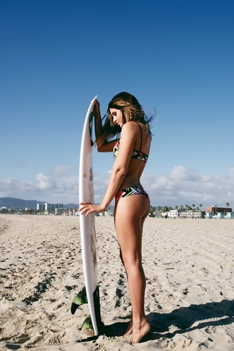 swimwear anastasia ashley floral black surf bikini summer sports