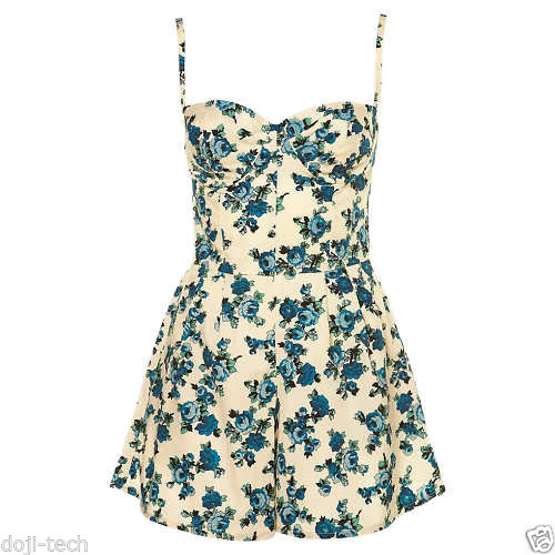 Topshop liberty print rose floral corset 50s vtg playsuit romper dress 14 42 m