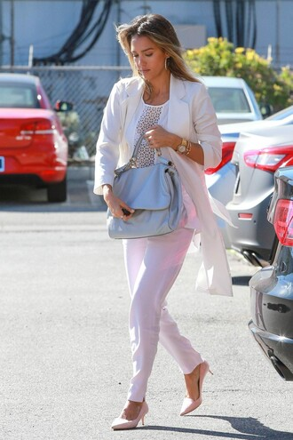 blouse top pants jessica alba shoes