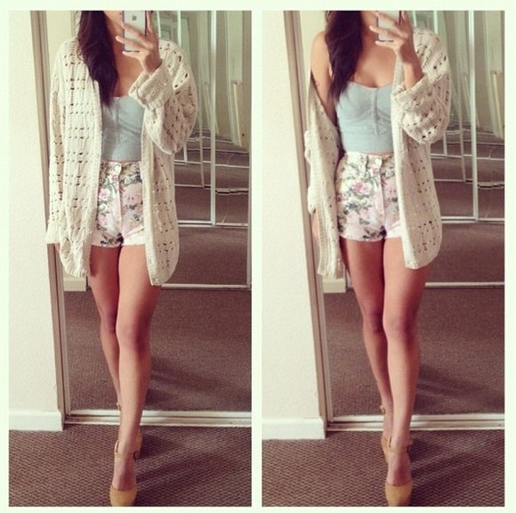cream shirt coat whool knitted cardigan white cute sweater shoes clothes floral bustier shorts water green turquoise vest laine floral shorts floral print shorts tank top