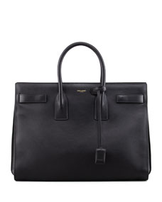 Classic sac de jour leather tote bag, black