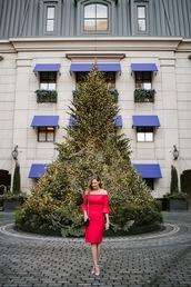 see anna jane,blogger,dress,shoes,off the shoulder dress,red dress,high heel pumps,pumps