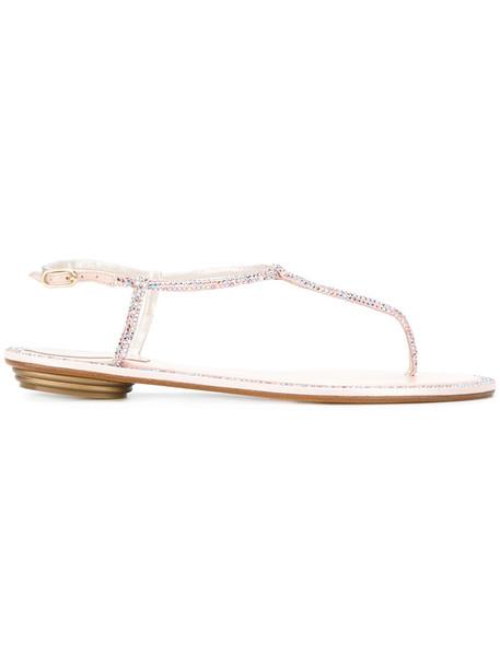 René Caovilla embellished sandals women embellished sandals leather purple pink shoes