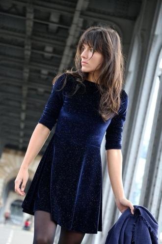 dress glitter sparkle navy velvet