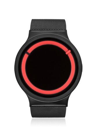 metallic watch black red jewels