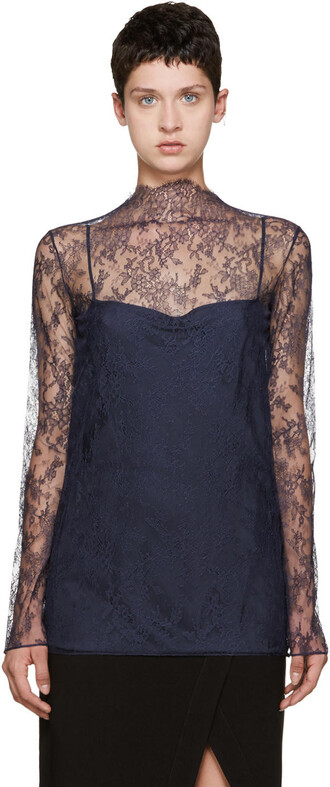 blouse lace floral navy top