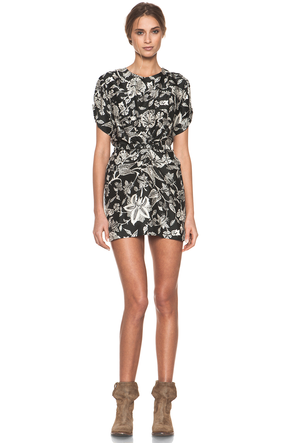 Isabel Marant|Tilda Hawaiian Modern Silk Dress in Noir
