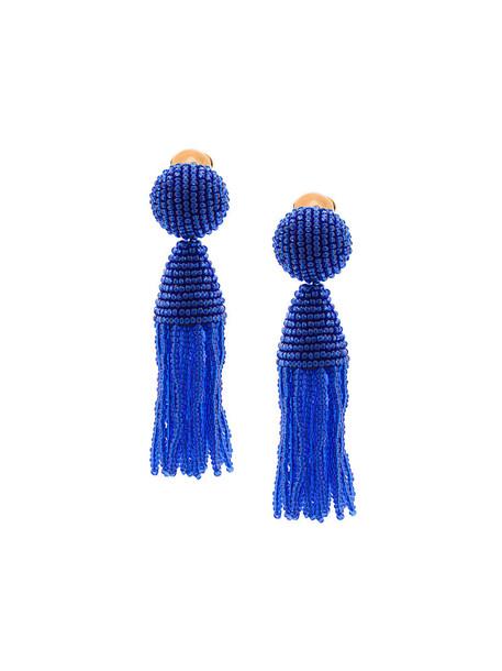 oscar de la renta tassel women earrings blue jewels