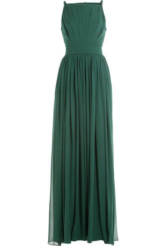 gown silk green dress