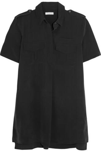 dress shirt dress silk black