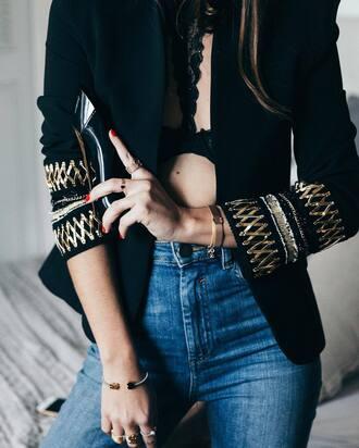 jacket tumblr embellished jacket embellished blazer black blazer jeans denim blue jeans bracelets gold bracelet ring gold ring nail polish nails