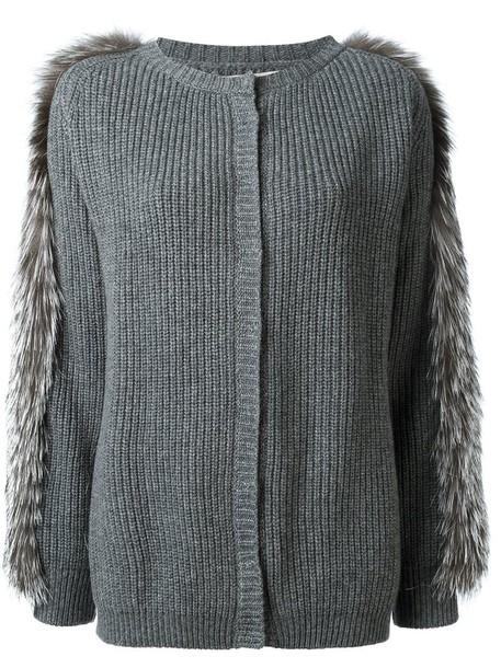 Liska cardigan fur trim cardigan cardigan fur fox women wool grey sweater