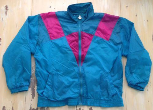Jordache Vtg 90s Blue Teal Hot Pink Windbreaker Jacket Fits Womens XL | eBay