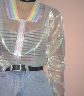 jacket tumblr girly sheer see through iridescent holographic zip zip up jacket rainbow