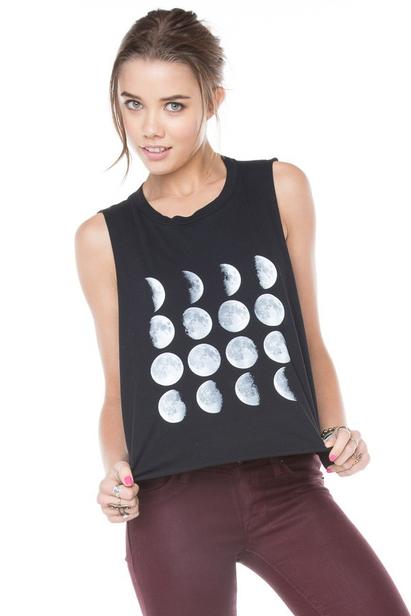 t-shirt black white moon phases of the moon crescent hipster hippie indian hipsta fashion clothes top shirt t-shirt tank top brandy melville blouse tank top moon phases bag grey i love you to the moon and back shirt jeans moon phases black crop top