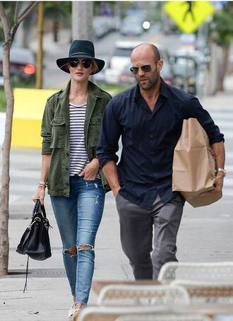 top striped top striped shirt rosie huntington-whiteley jeans denim hat jacket pajamas pants phone cover model off-duty
