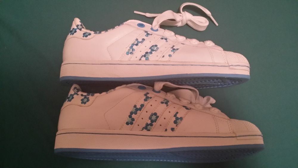 Women's New Adidas Vintage Retro Superstars Shell Toe Blue Dot Flowers Size 8 5 | eBay